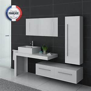 Meuble Salle De Bain Asymétrique : meubles blancs de salle de bain 1 vasque meuble blancs de salle de bain dis9250b ~ Nature-et-papiers.com Idées de Décoration