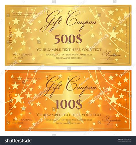 gift certificate voucher coupon template stars stock