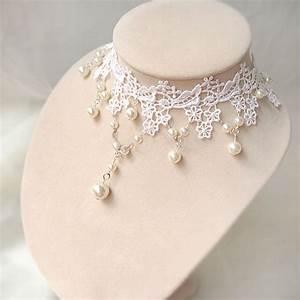 white lace beads choker bridal wedding dress retro pearl With pearl necklace with wedding dress