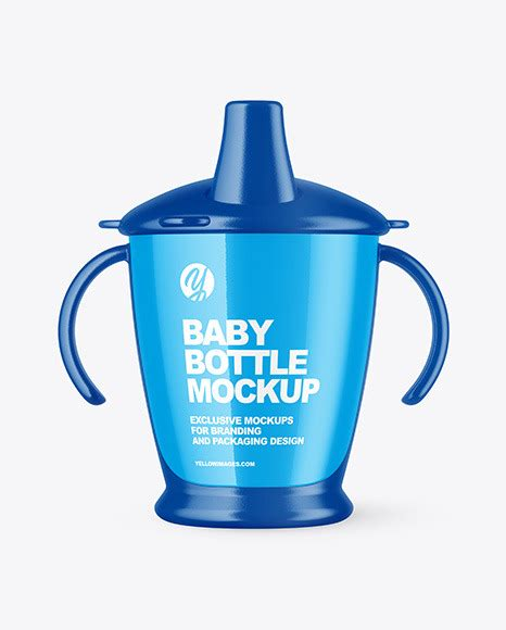 Includes a golden layer for your design. Glossy Baby Bottle Mockup | Exclusive Mockups