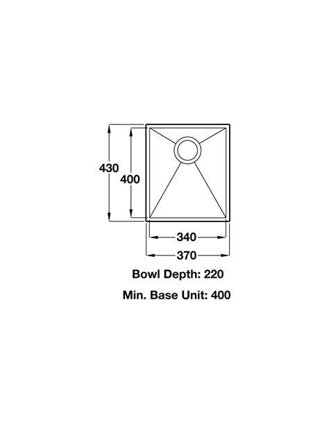 Ashton single bowl undermount kitchen sink & waste kit 370