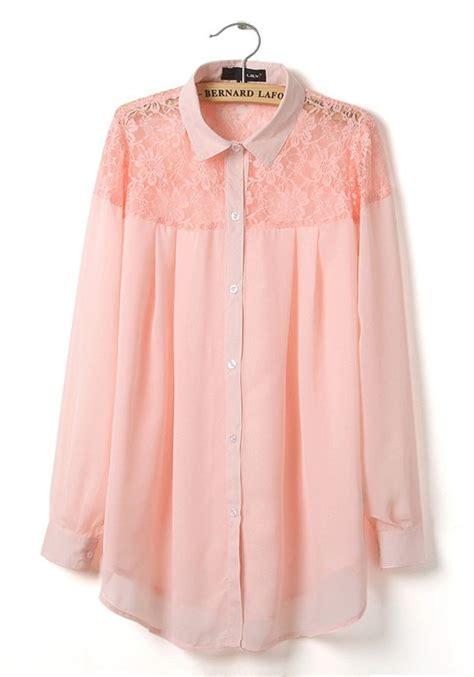 pink blouses pink patchwork irregular lace lapel chiffon blouse