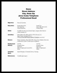 resume exle college resume exles for high school seniors