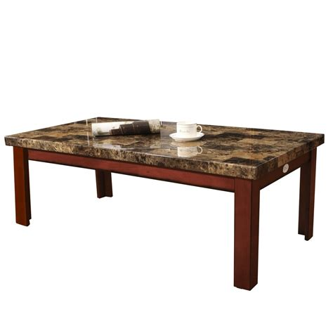 coffee and l tables adeco walnut color wood faux marble finish rectangular