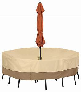 Classic accessories patio table cover umbrella hole small for Outdoor furniture covers with umbrella hole