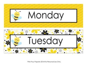 Bee Days of the Week Calendar Headers by Pink Posy Paperie ...