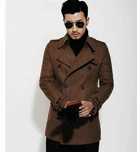 brown 2016 new autumn winter double breasted wool coat men With brown pea coat mens
