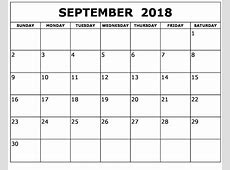 September 2018 Calendar Printable Word, Excel, Pdf Format