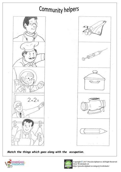 Community Helpers Worksheet For Kindergarten
