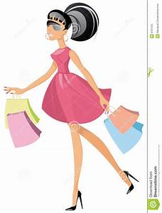 Lady With Shopping Bags Clipart - Clipart Suggest