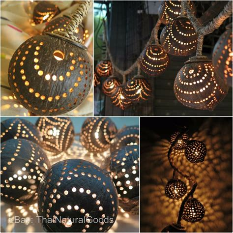 wooden hanging lamps   coconut shell asian