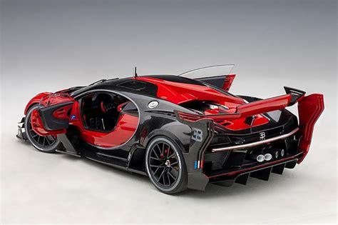 Bugatti's vision gran turismo is a ridiculous video game dream brought to life. AUTOart Bugatti Vision Gran Turismo - Italian Red/Black Carbon • DiecastSociety.com