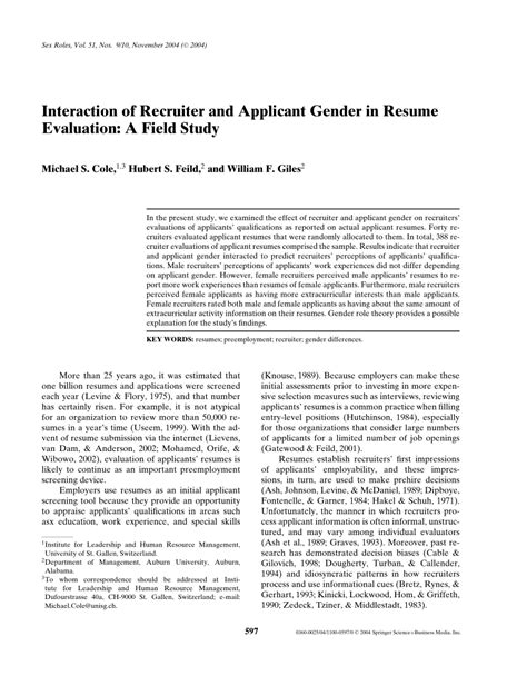 Resume Evaluation by Pdf Interaction Of Recruiter And Applicant Gender In