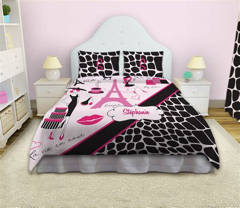 animal print pink and black paris bedding with personalization 19 eloquent innovations
