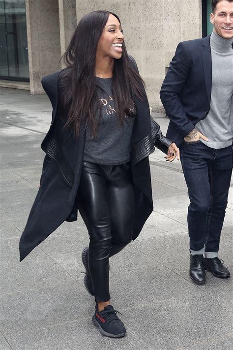 alexandra burke spotted leaving bbc studios leather celebrities