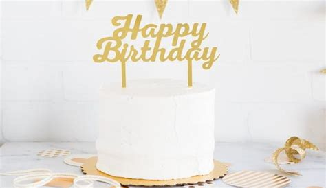 gold acrylic happy birthday cake topper zurchers