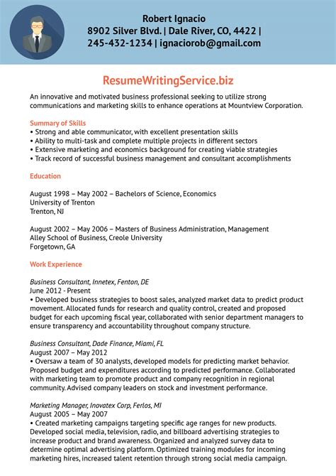 Business Consultant Resume by Business Consultant Resume Sle Resume Writing Service