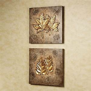 Birch and sweet gum leaf collage wall art set for Leaf wall decor
