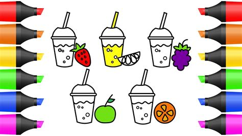 How To Draw Colorful Juice, Fruit Coloring Pages For Kids