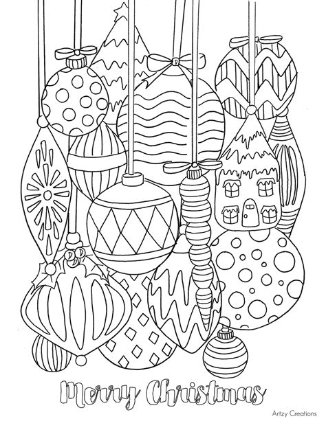 free christmas ornament coloring page artzycreations com