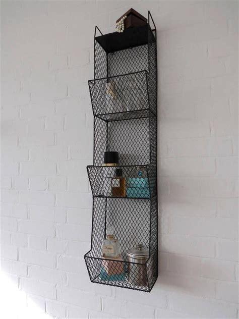 wire hanging shelf bathroom metal wall wire rack storage shelf black