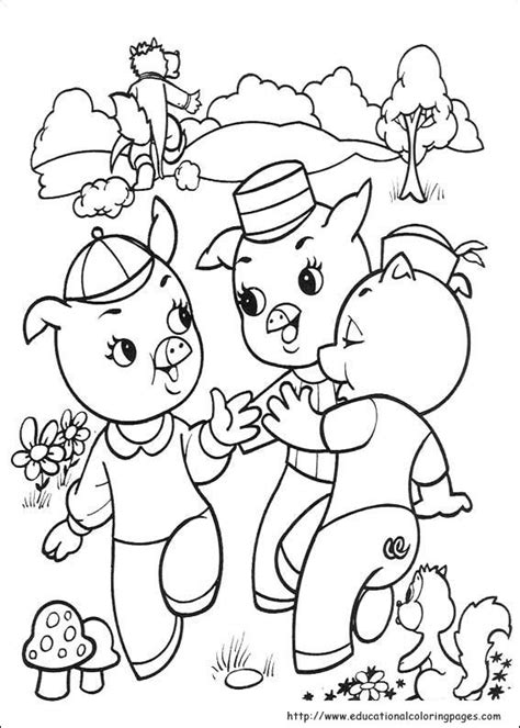 The three little pigs Coloring Educational Fun Kids
