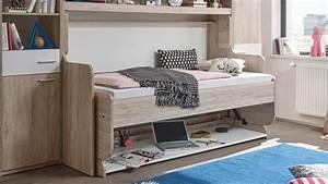 Schrankwand Mit Integriertem Schreibtisch : funktionsbett dakota klappbett schreibtisch eiche san remo ~ Watch28wear.com Haus und Dekorationen
