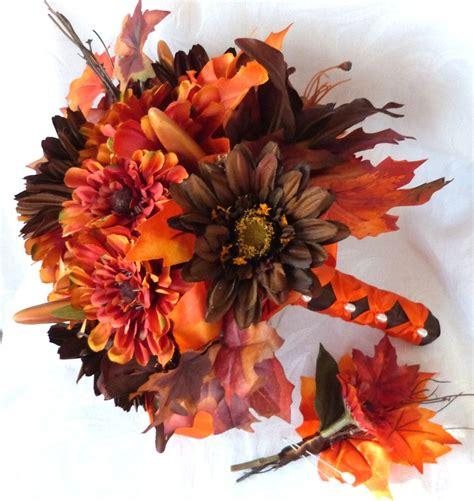 Fall Colors Bridal Bouquet Silk Flower Wedding Bouquet Shades