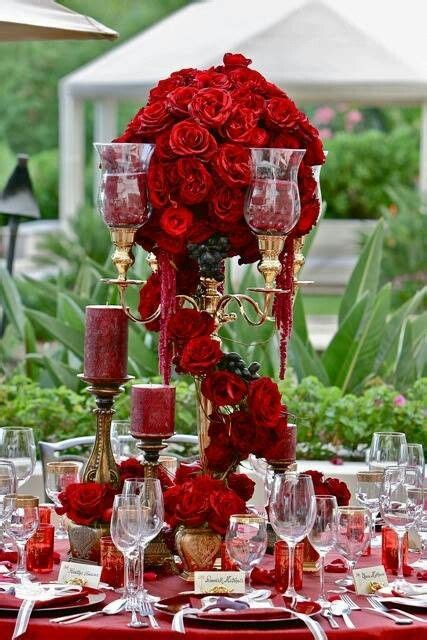 Table Setting With Red Roses Flowers Wedding