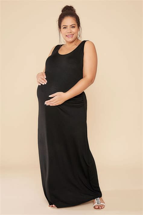Bump It Up Maternity Black Ruched Side Maxi Dress Plus