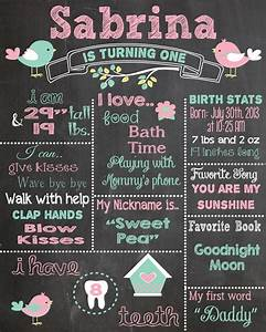 first birthday chalkboard printable poster bird theme baby With first birthday board template