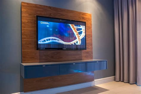 Tv Stand On Wall Mount by Floating Television Unit Mirror Edge Networks