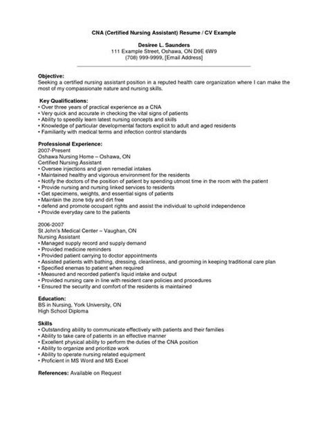 0 Experience Resume by Cna Resume Sle With Experience Cna Resume Sle