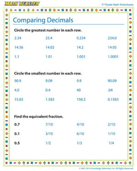 comparing decimals third grade decimal worksheets math