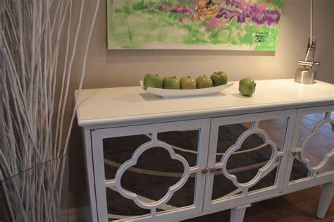 white hallway console table  mirrored quatrefoil