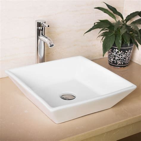 new bathroom white square porcelain ceramic vessel sink