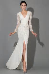 evening dresses for weddings white lace v neck sleeve wedding dresses popular floor length evening