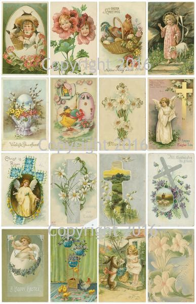 vintage easter cards printed collage sheet  paper