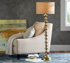 spool brass floor lamp base pottery barn With pottery barn floor reading lamp