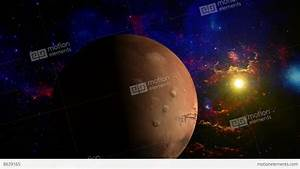 Planet Mars Rotating In Space Without Lens Objects Stock ...