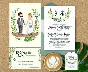 wedding invitation illustrated illustrated couple wedding With wedding invitations pictures of the couple
