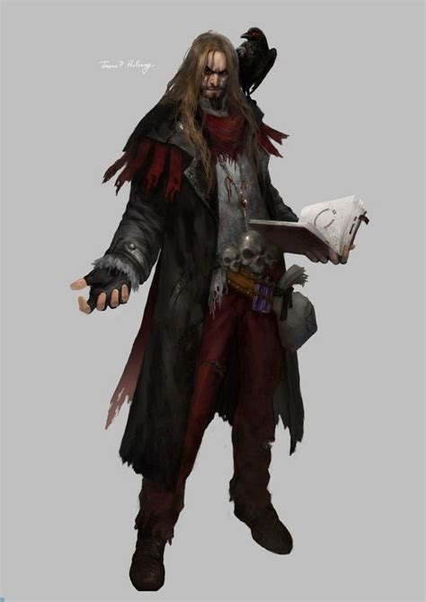 rpg fantasy wizard character magic dnd male familiar pirate characters human portraits necromancer cleric wizards dungeons crow death warlock dragons