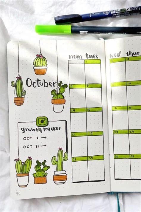 cactus succulent themed bullet journal ideas en