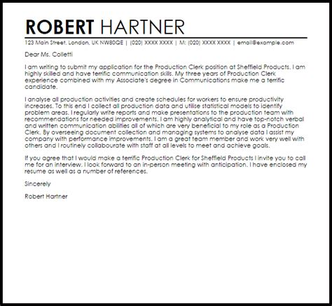 production clerk cover letter sample cover letter templates examples