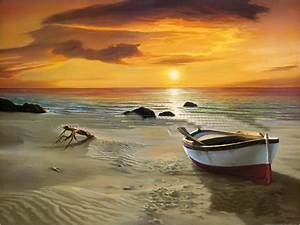 Musuem Quality!! Wall Art Painting,The Beach ,Boat and