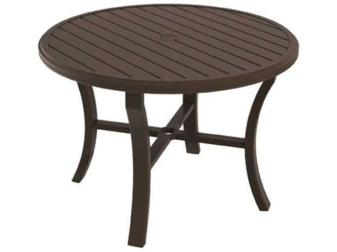 outdoor dining table with umbrella hole tropitone banchetto aluminum 42 round dining table with