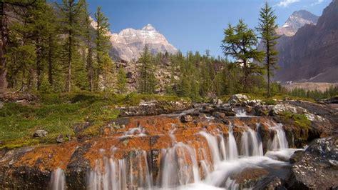 photo mountain river cascade waterfall natural