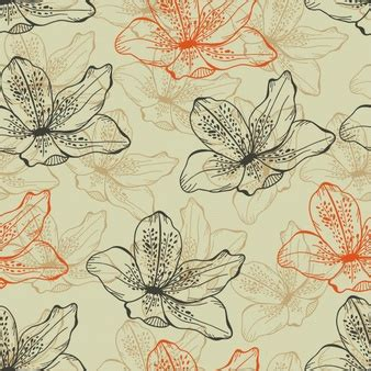 Free Vector   Vintage flowers yellow-colored green pattern ...
