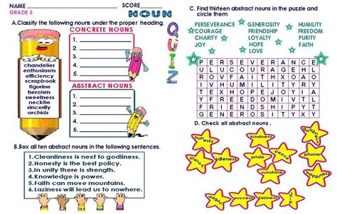 grammar worksheets grade 3 abstract concrete nouns