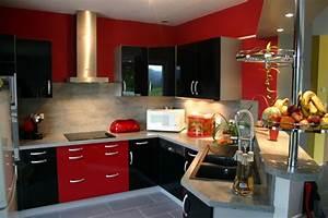 Mobilier cuisine design photo 8 10 cuisine rouge et for Idee deco cuisine avec mobilier de boutique